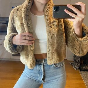 brown furry vintage jacket